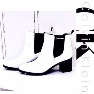 Just In NWT Calvin Klein Perron White Ankle Boot